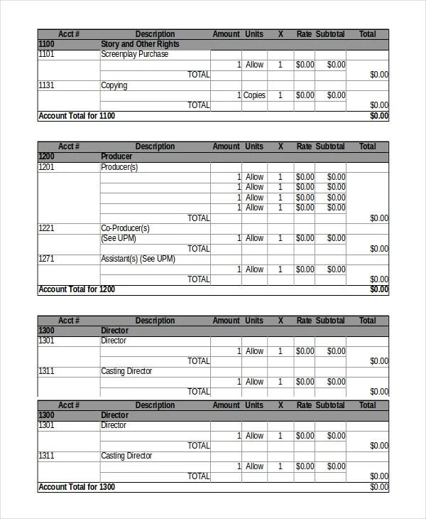 8+ Film Budget Templates - Word, Excel, PDF Free  Premium Templates - sample film budget template