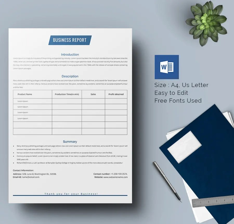 33 + Business Report Templates- Google Docs,Apple Pages, MS Word