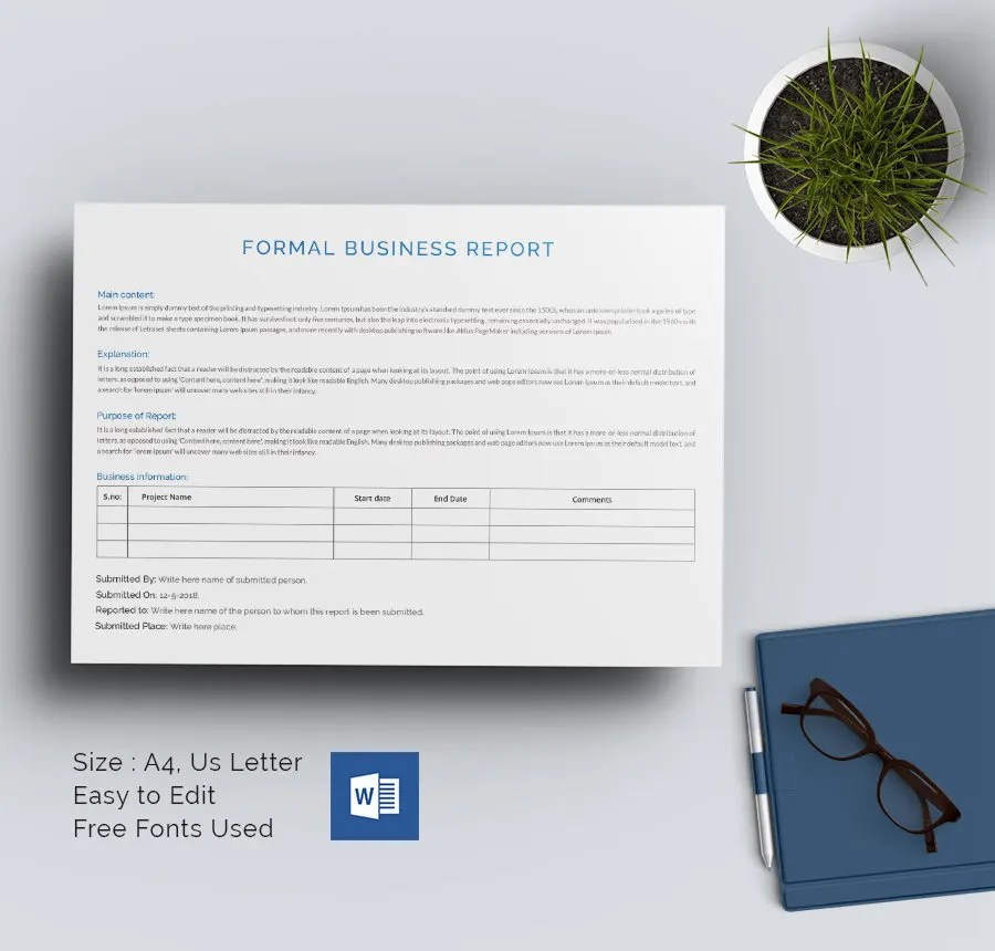 35+ Business Report Template - Free Sample, Example, Format Download - formal business report template