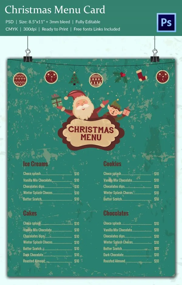 Christmas Menu Design Templates Free \u2013 Merry Christmas And Happy New
