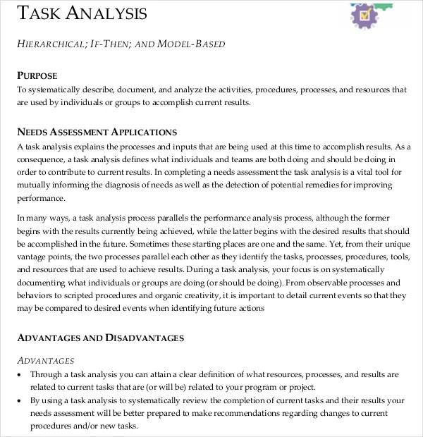 Task Analysis Templates \u2013 11+ Free Word, PDF Documents Download