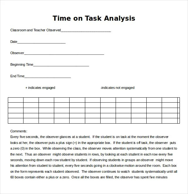 Task Analysis Templates \u2013 11+ Free Word, PDF Documents Download - job task analysis template