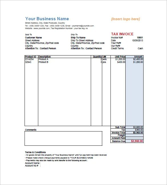 16+ Sales Invoice Template - Free Word Excel PDF Download Free - sales invoice template excel