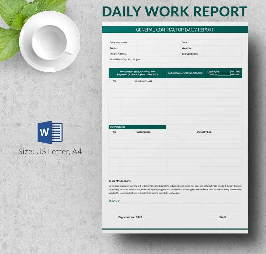 Daily Job Report Template - Apigram.Com