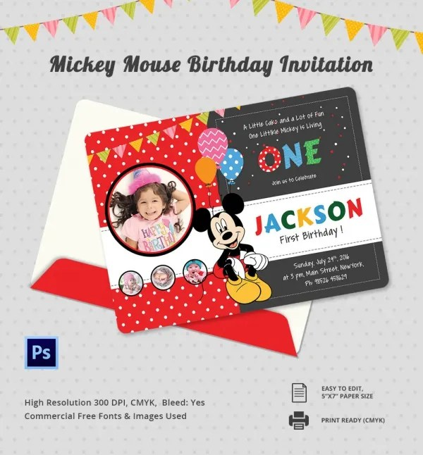 9+ Mickey Mouse Birthday Invitations - Free PSD, EPS, JPG, Vector - free first birthday invitation template