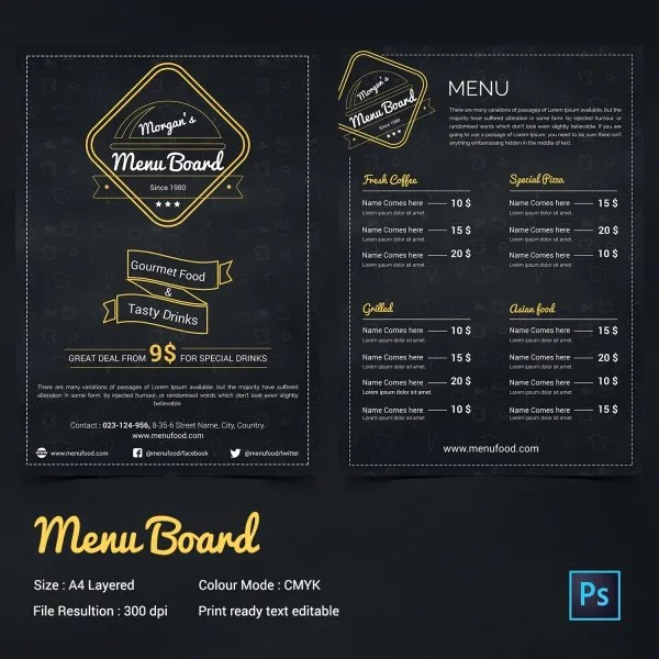 Sample Chalkboard Menu Template Bar Menu Template Revolutionary