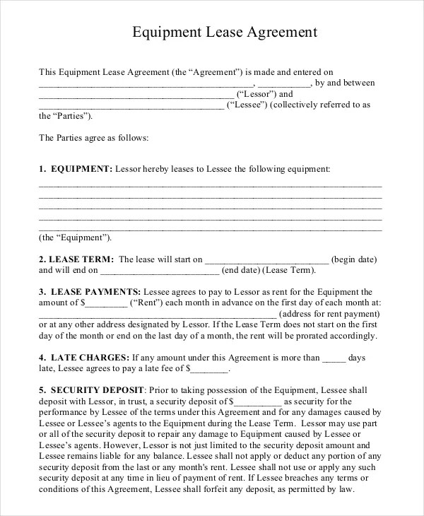 Equipment Lease Form Get Residential Lease Forms Free Printable - equipment lease agreement template