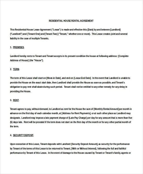 15+ House Rental Agreement Template - DOC, PDF Free  Premium