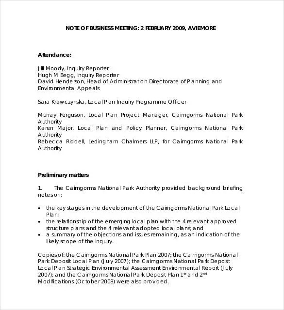 Meeting Notes Template - 28+ Free Word, PDF Documents Download - attendance report template