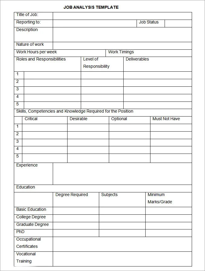 Job Analysis Template - 12+ Free Word, Excel Documents Download - job analysis