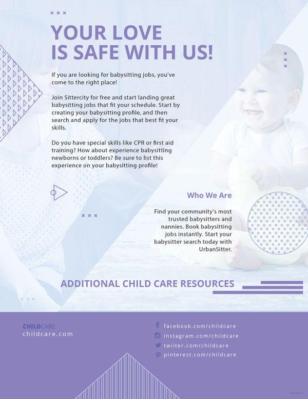 11+ Fabulous PSD Baby Sitting Flyer Templates Free  Premium Templates - babysitting pamphlets