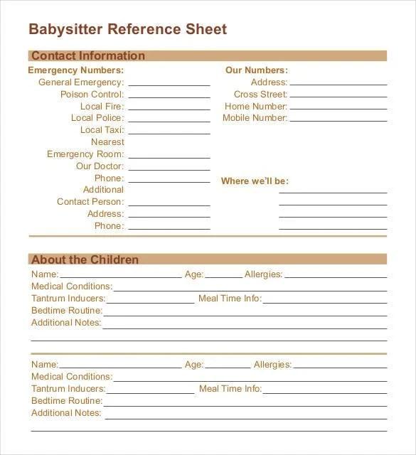 babysitter notes template - Minimfagency - babysitting information sheets