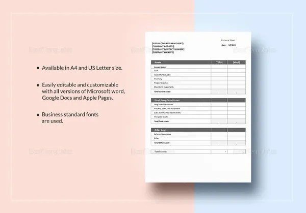 Pro Forma Balance Sheet - 8 Free Excel, PDF Documents Download - microsoft excel balance sheet template