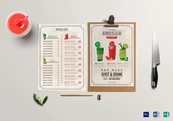 24+ Bar Menu Templates u2013 Free Sample, Example Format Download - sample drink menu template