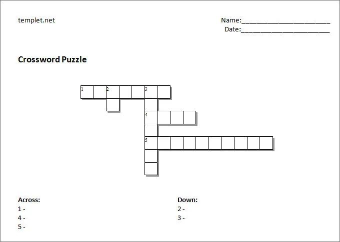 Blank Crossword Template - Crossword Template Free  Premium Templates