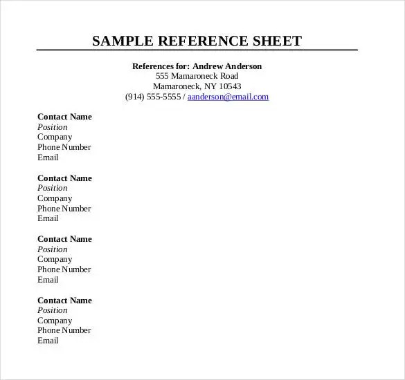 reference sheet template - Yelommyphonecompany