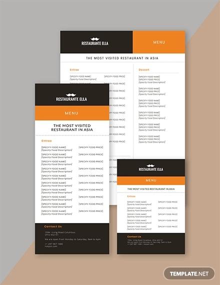 24+ Free Menu Templates - PDF, DOC, Excel, PSD Free  Premium