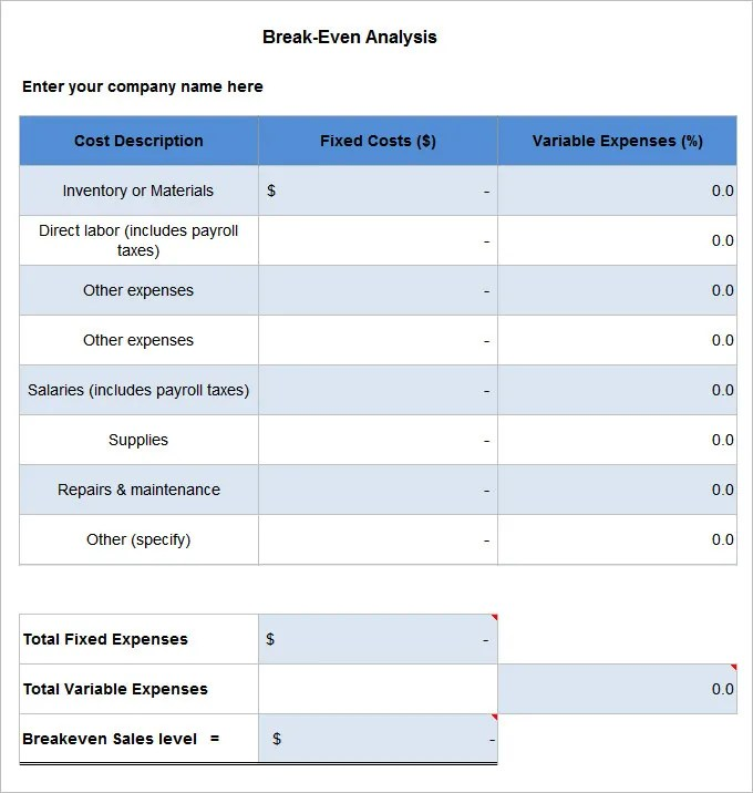 3+ Break Even Analysis Templates - Free Word, PDF Documents Download