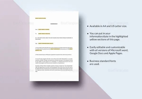 Business Memo Template - 18+ Free Word, PDF Documents Download - microsoft word memo format