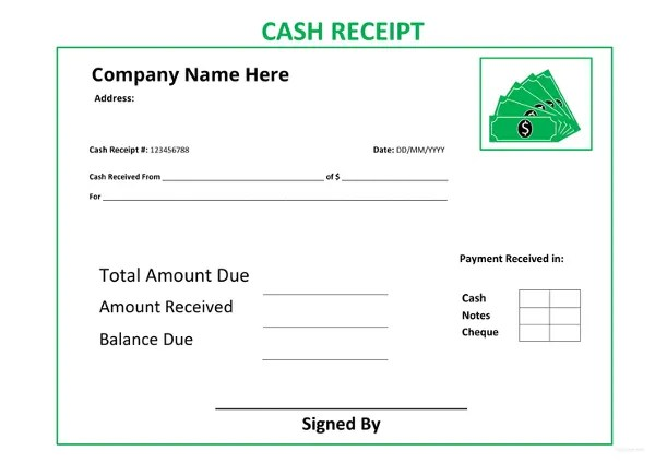 Cash Receipt Template - 16+ Free Word, Excel Documents Download - Cash Recepit