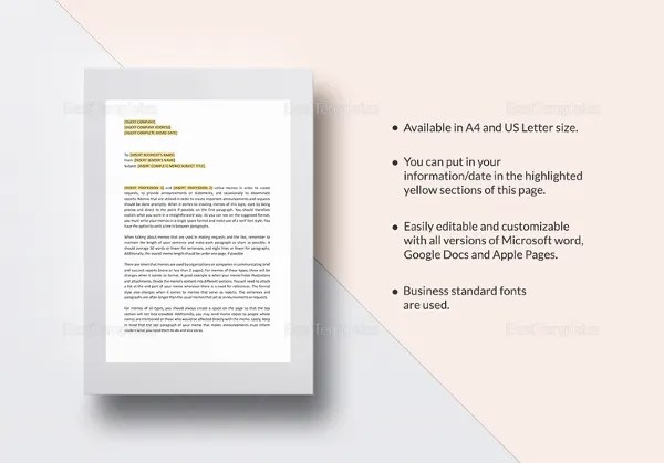 Business Memo Template - 18+ Free Word, PDF Documents Download - microsoft word memo template