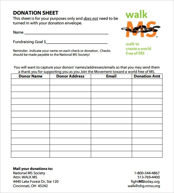 Donation Sheet Template - 4 Free PDF Documents Download Free - Donation Form Templates
