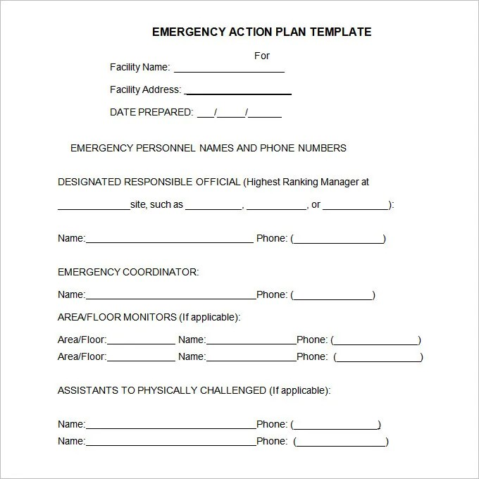 Emergency Action Plan Template - 15+ Free Word,Excel, PDF Format - emergency action plan template