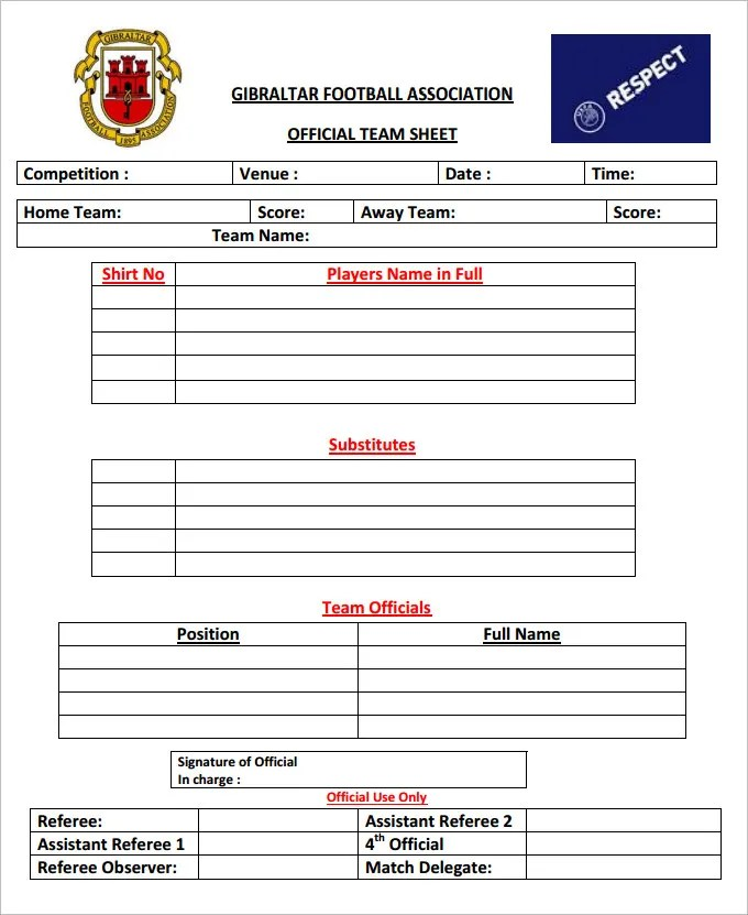 Football Team Sheet Template - 5 Free PDF Documents Download Free