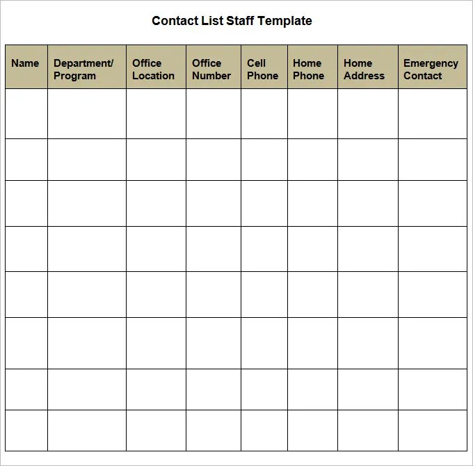 Contact List Template - 4 Free Word, PDF Documents Download Free