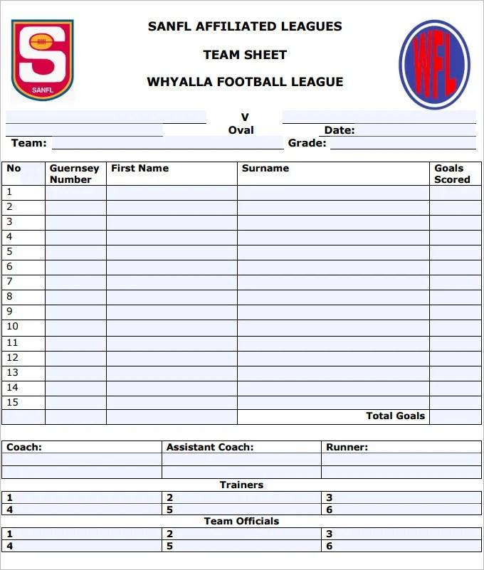 team sheet template - Towerssconstruction