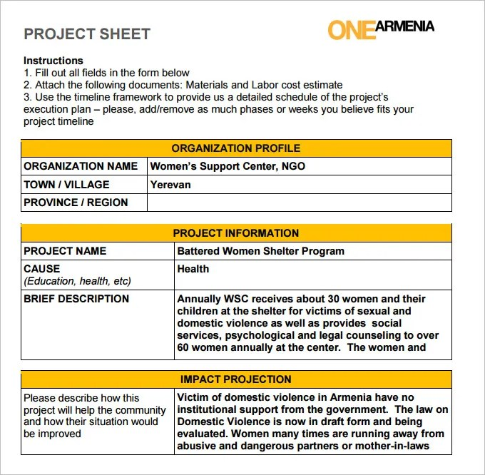 Project Sheet Template - 7 Free PDF Documents Download Free