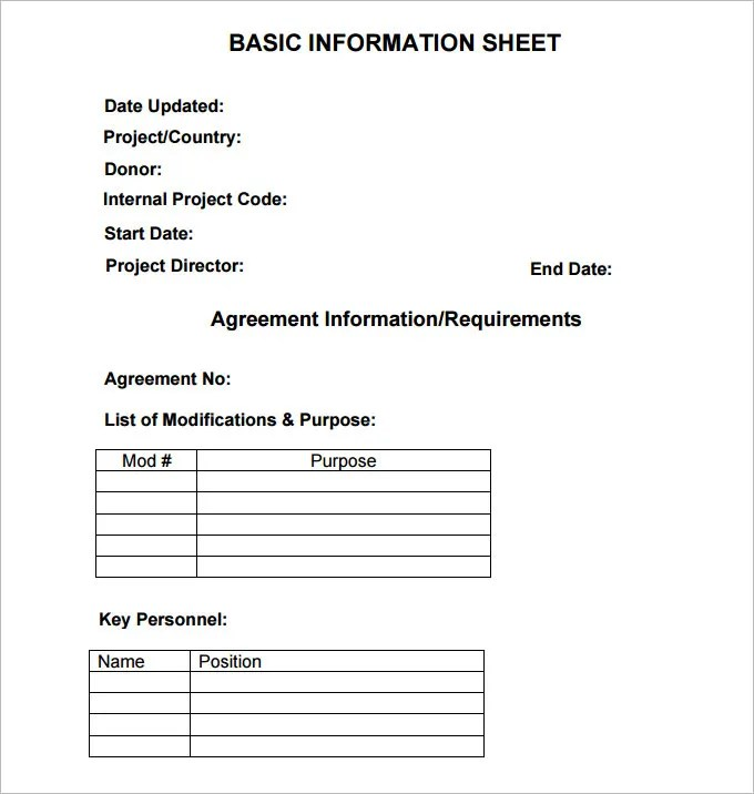 Information sheet template - 6 Free PDF Documents Download Free