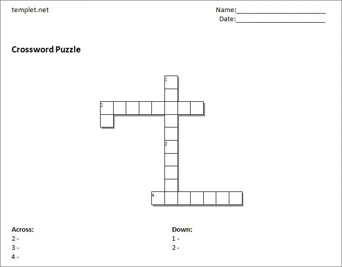 15+ Blank Crossword Template - Crossword Template Free  Premium