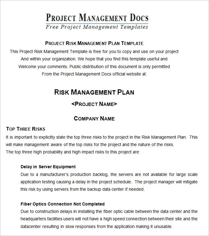 Risk Management Plan - Free Word Documents Download Free  Premium