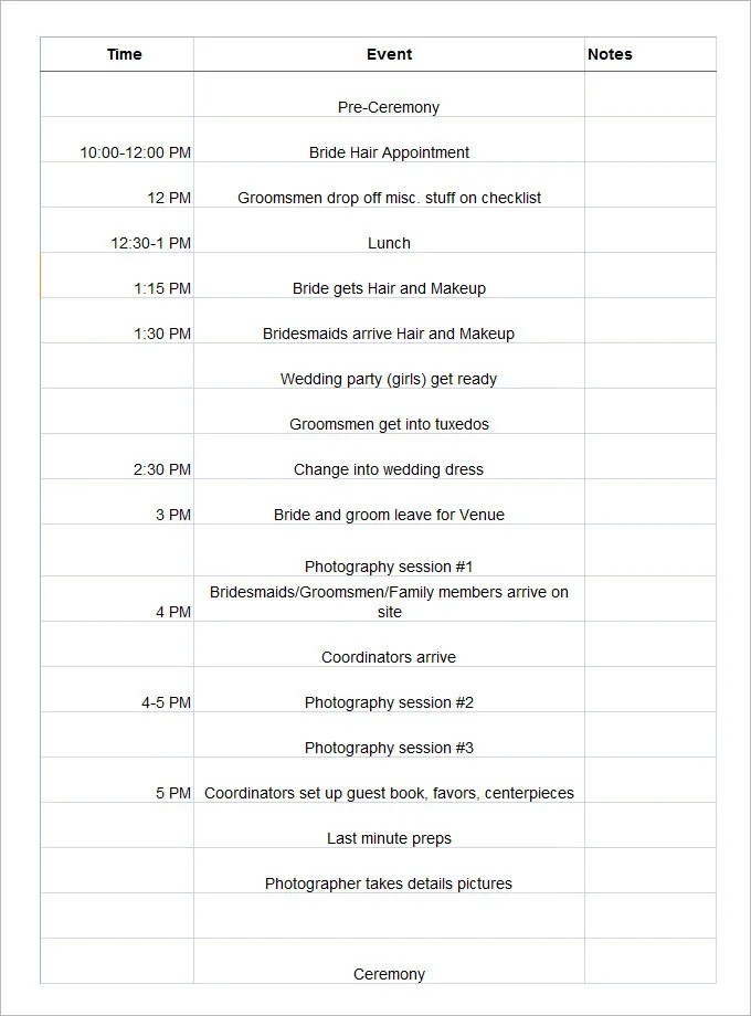 wedding day schedule templates - Selol-ink