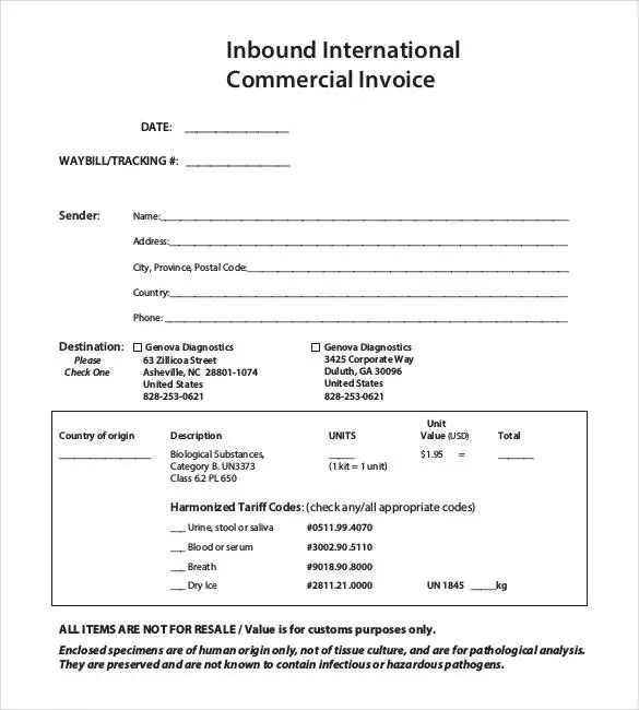 commercial invoice pdf fillable