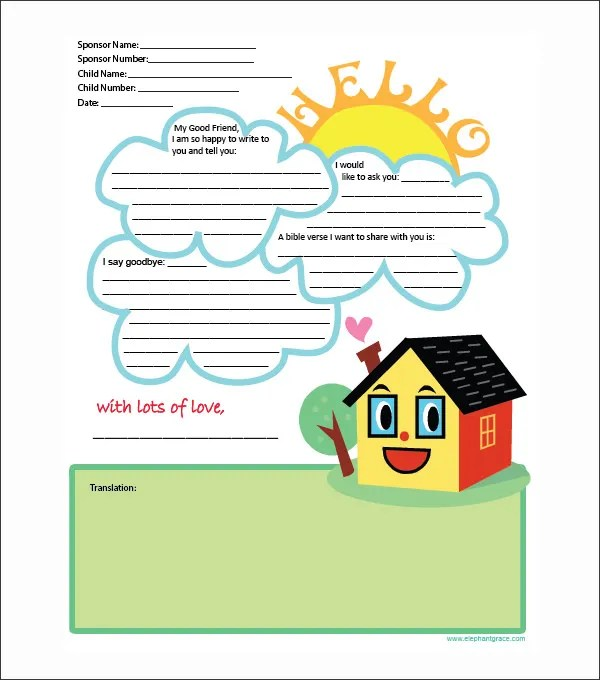 10+ Letter Templates for Kids - Free Sample, Example, Format - letter writing template