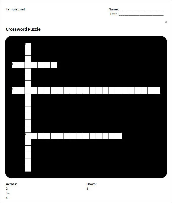 Blank Crossword Template - Crossword Template Free  Premium Templates - blank crossword template