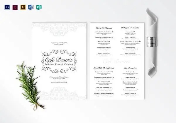 16 French Menu Templates Ai Docs Psd Pages Free
