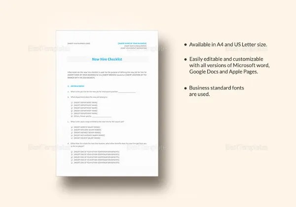 New Hire Checklist Templates \u2013 16+ Free Word, Excel, PDF Documents - microsoft word checklist template download free