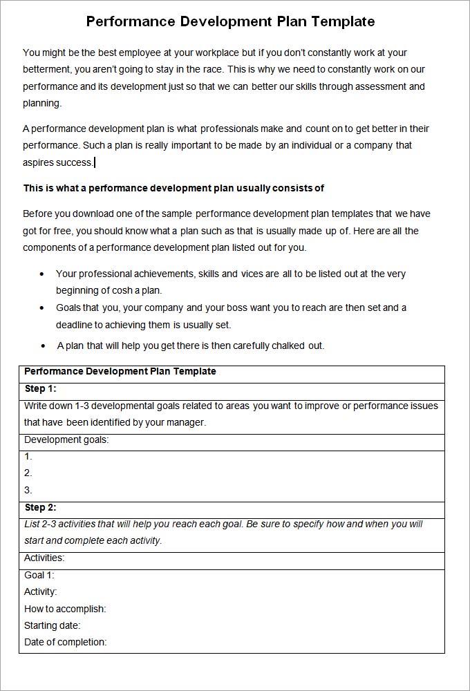 Performance Development Plan Template - Development Plan Template