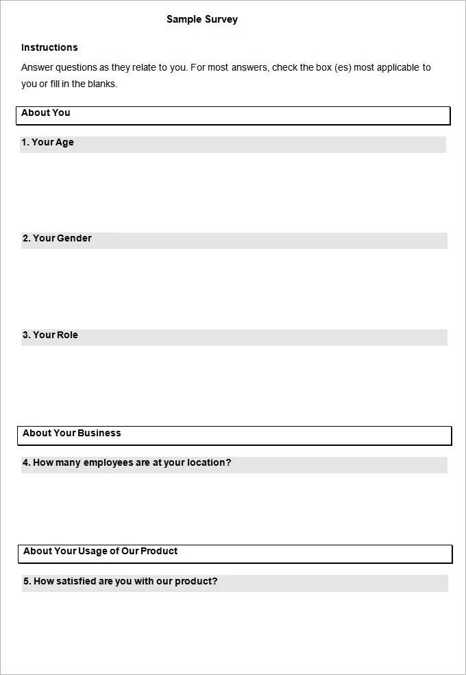 blank survey template - itemroshop