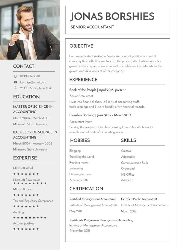 resume format in pages