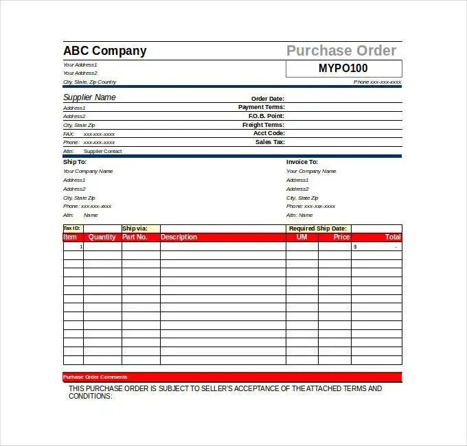 34+ Purchase Order Examples - PDF, DOC Free  Premium Templates - purchase order formats