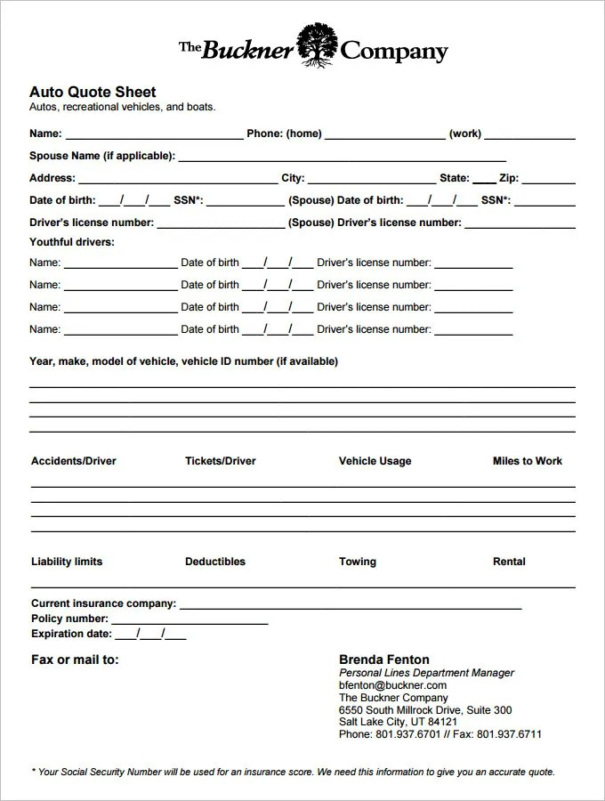 7+ Quote Sheet Template - Word, PDF Free  Premium Templates