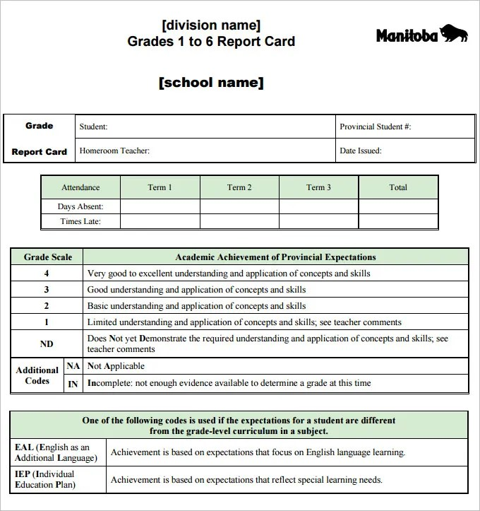report card template excel - Ozilalmanoof
