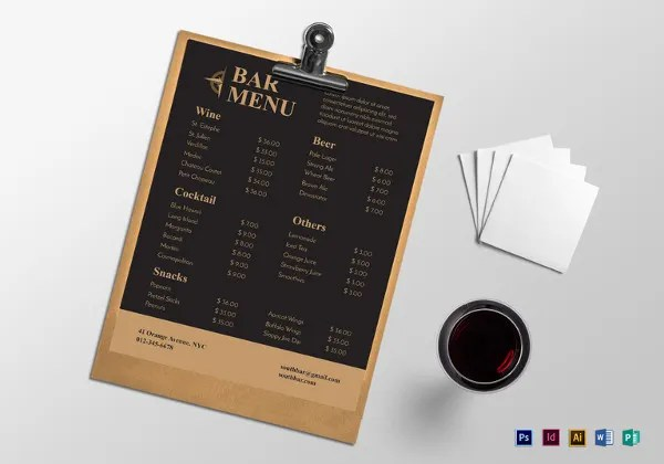 Bar Menu Templates \u2013 35+ Free PSD, EPS Documents Download! Free