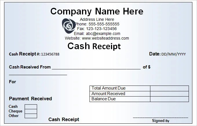 Cash Receipt Template - 16+ Free Word, Excel Documents Download - Cash Receipt Voucher Word Format