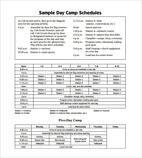 15+ Camp Schedule Templates - PDF, DOC, Xls Free  Premium Templates