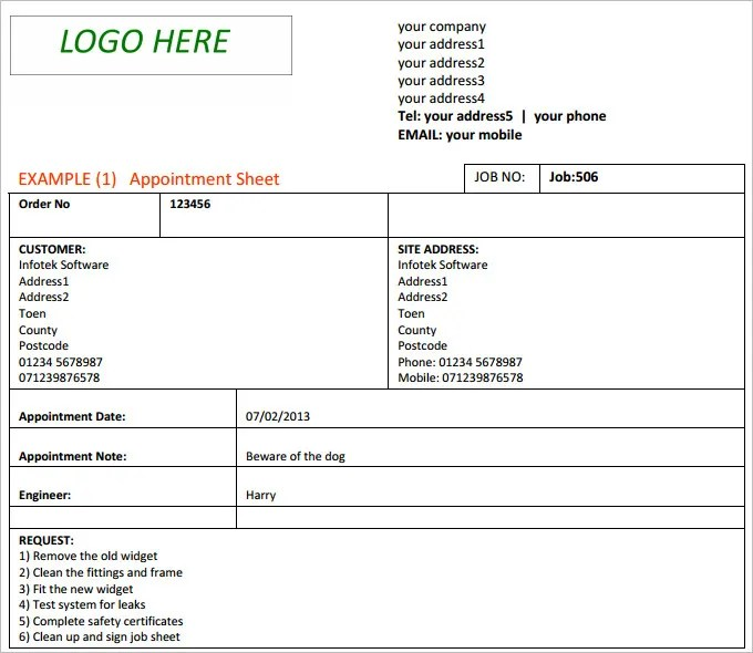 Doc717555 Sample Job Sheet Sample Job sheet Template for – Excel Job Sheet Template